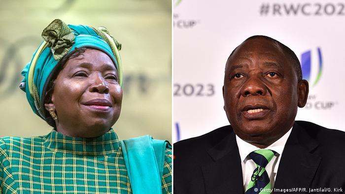Bildkombo Nkosazana Dlamini-Zuma und Cyril Ramaphosa (Getty Images/AFP/R. Jantilal/G. Kirk)