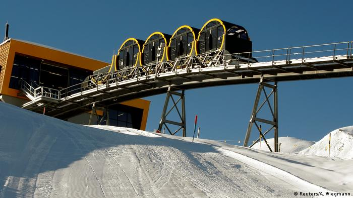 Stoos ski resort with four barrel-shaped carriages on the new route