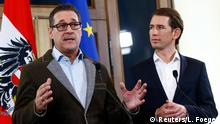 Freedom Party leader Heinz-Christian Strache and People's Party chief Sebastian Kurz
