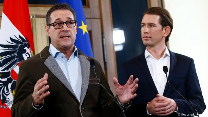 Österreich Koalitionsverhandlungen ÖVP und FPÖ Strache und Kurz (Reuters/L. Foeger)