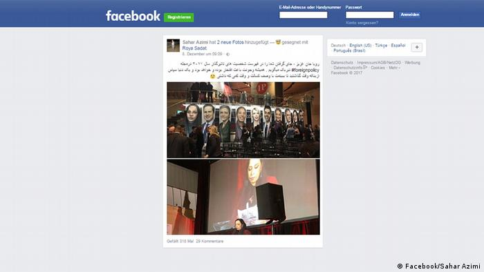 Screenshot Facebook Account Sahar Azimi (Facebook/Sahar Azimi)
