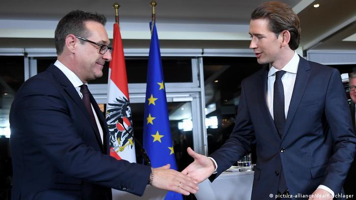 Koalition FPÖ ÖVP Strache und Kurz (picture-alliance/dpa/R.Schlager)