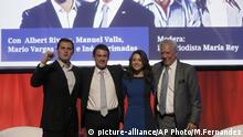 From left to right: Citizens Party leader Albert Rivera, French former Prime Minister Manuel Valls, Ines Arrimadas, Citizens Party and candidate for the upcoming Catalan regional election, and Peruvian writer Mario Vargas Llosa pose to the media during an electoral campaign for the Catalan regional election in Barcelona, Spain, Saturday, Dec. 16, 2017. The upcoming elections look like being a tight race between Catalans who support secession and those who prefer to stay in Spain. (AP Photo/Manu Fernandez) |