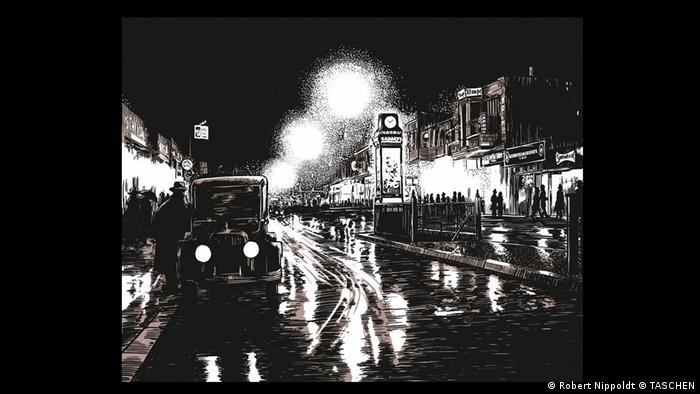 A drawing in 'Es wird Nacht im Berlin der Wilden Zwanziger' depicting a street scene at night in Berlin (Robert Nippoldt © TASCHEN)
