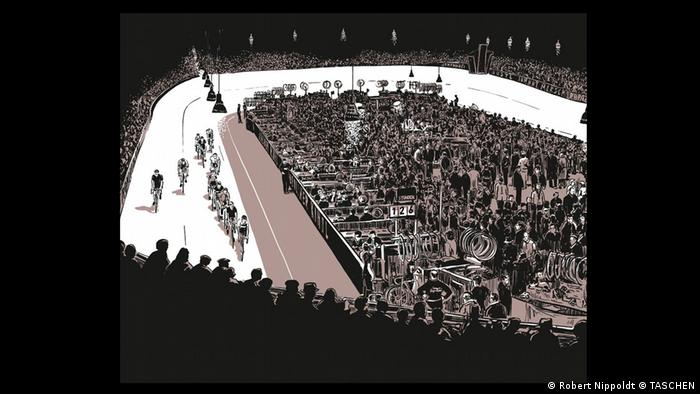 A drawing in 'Es wird Nacht im Berlin der Wilden Zwanziger' depicting a scene in the sports palace where a biking race takes place (Robert Nippoldt © TASCHEN)