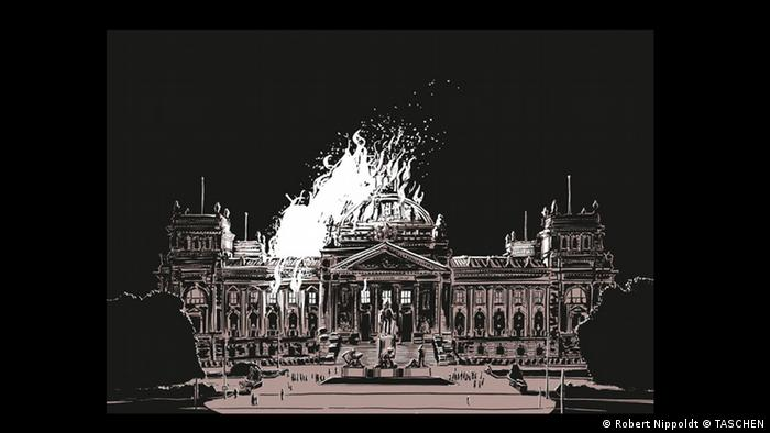 Illustration in the book 'Es wird Nacht im Berlin der Wilden Zwanziger' depicting the Reichstagsbrand, a fire engulfing Germany's parliament building (Robert Nippoldt © TASCHEN)