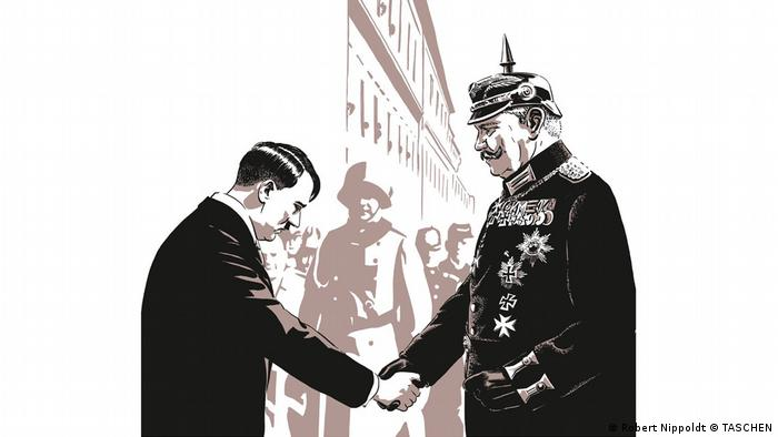Illustration in the book 'Es wird Nacht im Berlin der Wilden Zwanziger' depicting Hindenburg and Hitler shaking hands (Robert Nippoldt © TASCHEN)