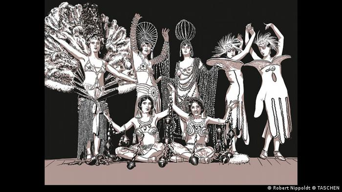 A drawing depicting dancers on a stage in 'Es wird Nacht im Berlin der Wilden Zwanziger' (Robert Nippoldt © TASCHEN)