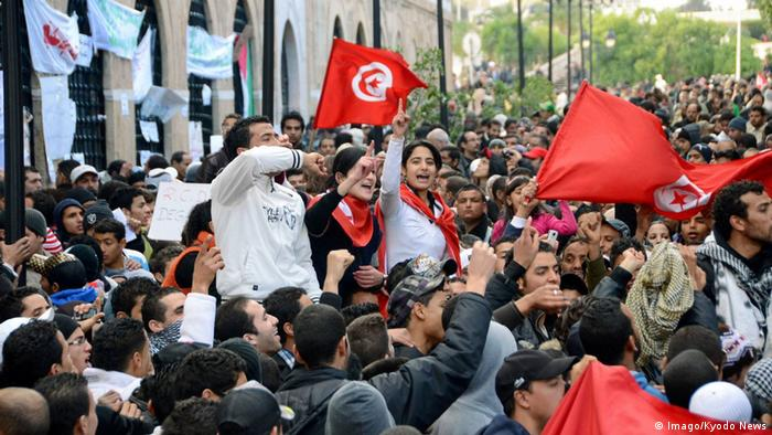 Protesters in Tunisia demonstrate against the Ben Ali regime in January 2011