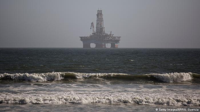 An Oil and Gas drilling rig, operating in Angola, is seen in the waters outside Walvis Bay for maintanance