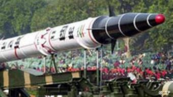 India's Agni II missile is seen in a rehearsal for the Republic Day Parade