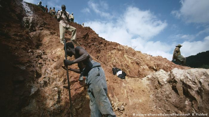 Miners at work in a strip mine in Mozambique