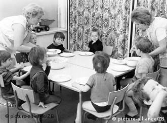 Children eating in East Berlin in 1972
