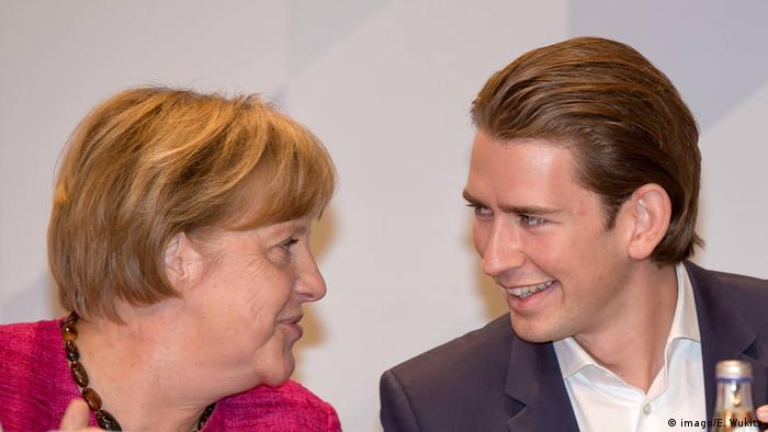 Deutschland Angela Merkel und Sebastian Kurz (imago/E. Wukits )