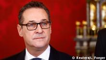Head of the Freedom Party (FPOe) Heinz-Christian Strache reacts during the swearing-in ceremony of the new government in Vienna, December 18, 2017 REUTERS/Leonhard Foeger