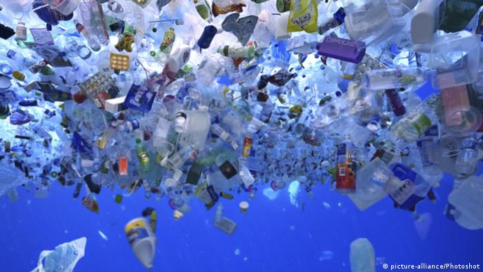 Huge amount of plastic garbage floats at the surface of a sea.