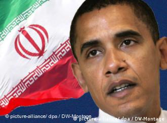 President Obama in front of an Iranian flag
