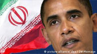 Obama in front of an Iranian flag