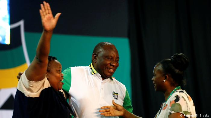Cyril Ramaphosa is congratulated by ANC delegates