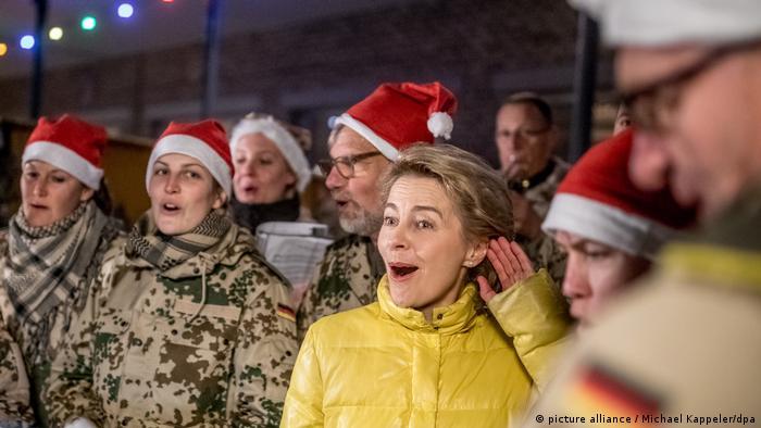 German Defense Minister Ursula von der Leyen singing Christmas carols with soldiers in Afghanistan