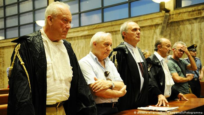 Manlio Milani (center), who lost his wife in the Piazza dell Loggia attack, has fought for decades to ensure justice is served