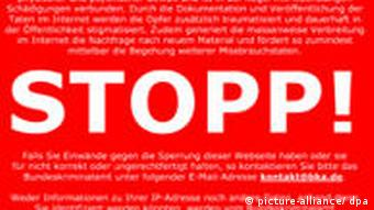 The Stopp sign that Germany's Family Ministry wanted to have appear on blocked sites