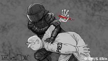 DW-Karikatur von Sergey Elkin - Pressefreiheit und Verhaftungen
