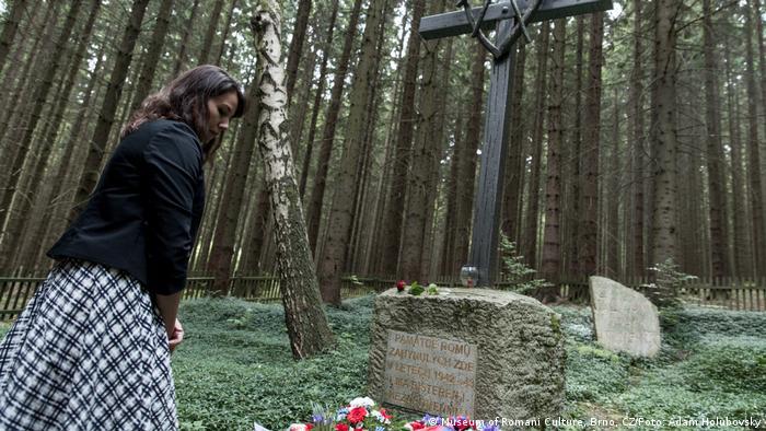 A woman gazes at the Roma Holocaust memorial in Hodonin u Kunstatu