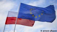 Polnische Flagge und EU Flagge
