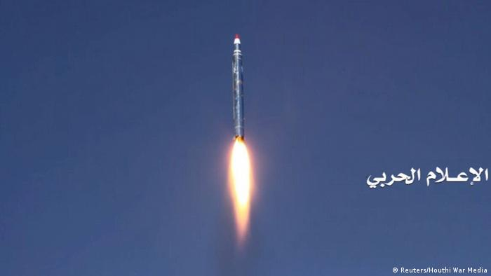 A ballistic missile is seen after it was fired toward the Saudi capital of Riyadh from an undisclosed location in Yemen, in this handout photo released December 19, 2017 by the Houthi movement's War Media