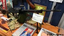 07.12.2017 Kalashnikov automatic rifle and books dedicated to Mikhail Kalashnikov at the Kalashnikov Museum in Izhevsk