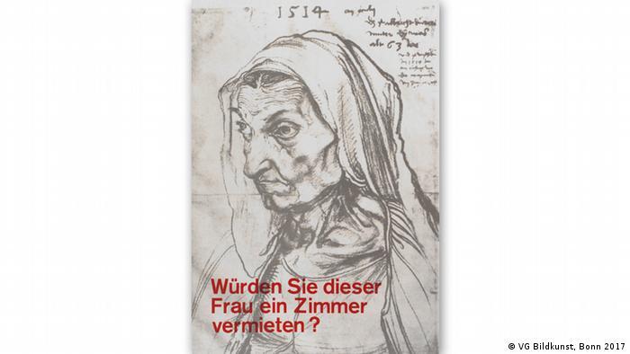 Bild, das Albrecht Dürer 1514 von seiner Mutter anfertigte. Darauf die Frage: Würden sie dieser Frau ein Zimmer vermieten? - Landesmuseum Hannover | Ausstellung silberglanz - von der kunst des alters | Klaus Staeck (VG Bildkunst, Bonn 2017)