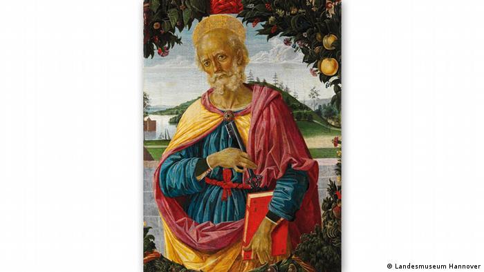 Картина Пьетро Перуджино Святой Петр на фоне венка из фруктов