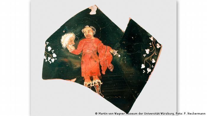 Осколок глиняного сосуда (кратера) из Апулии - эскпонат выставки в Ганновере Серебряный глянец: Об искусстве старения (Silberglanz. Von der Kunst des Alters)