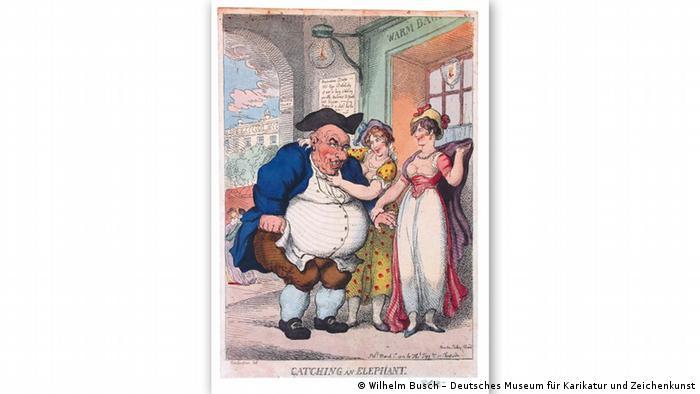 Томас Роулендсон, английский художник-карикатурист, назвал эту карикатуру 1812 года Ловля слона.