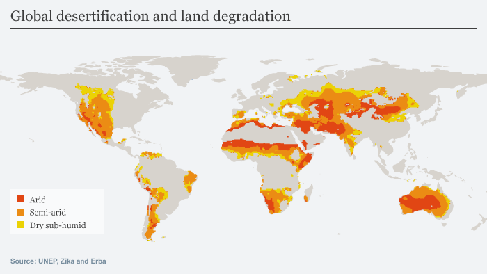 Infographic showing desertification across the globe