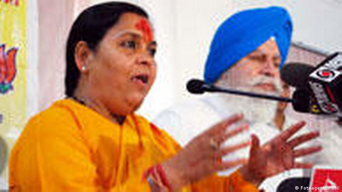 Vorsitzende der Bharatiya Janashakti Partei Uma Bharati (Fotoagentur UNI)