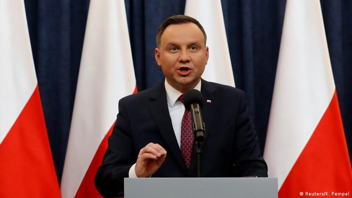 Polish President Andrzej Duda speaking at a press conference