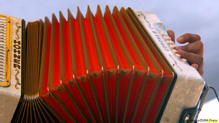 A red accordion