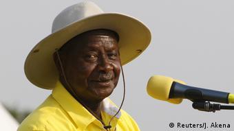 Yoweri Museveni, lors de la campagne de 2016