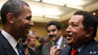 Barack Obama und Hugo Chavez in Trinidad