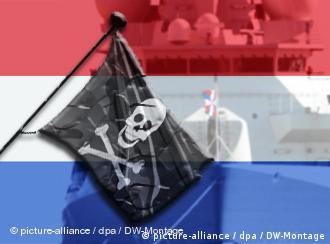 A skull-and-crossbones pirate flag against a background of the Dutch flag