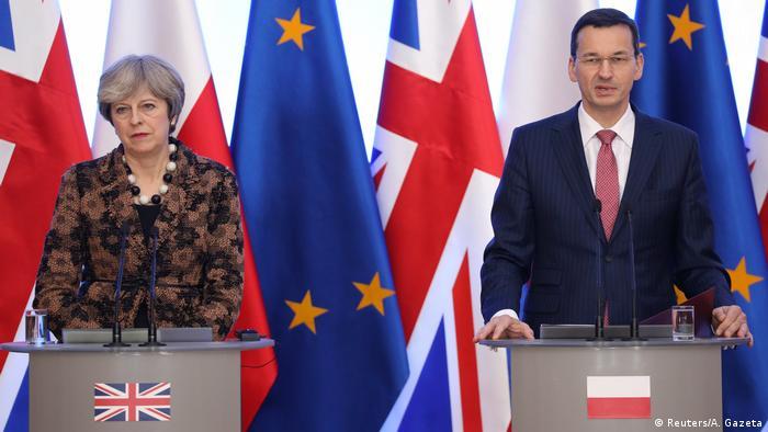 The UK's Theresa May and the Polish Prime Minister Mateusz Morawiecki