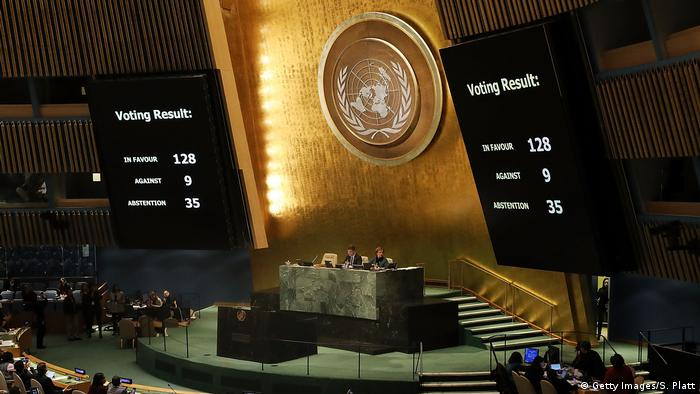 The voting results are displayed on the floor of the United Nations General Assembly on the Jerusalem measure