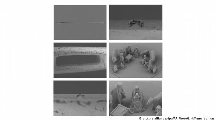 A six image combination of the minuscule nativity scene that was given to Pope Francis