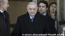 Jose Maria Marin leaves federal court in the Brooklyn borough of New York, Friday, Nov. 17, 2017. Marin, of Brazil, is one of three former South American soccer officials on trial in a U.S. case highlighting widespread corruption in the sport's governing body. (AP Photo/Mary Altaffer) |