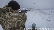 Soldier of the Ukrainian army during a shooting training near Troitske