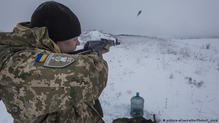 Soldier of the Ukrainian army during shooting training near Troitske