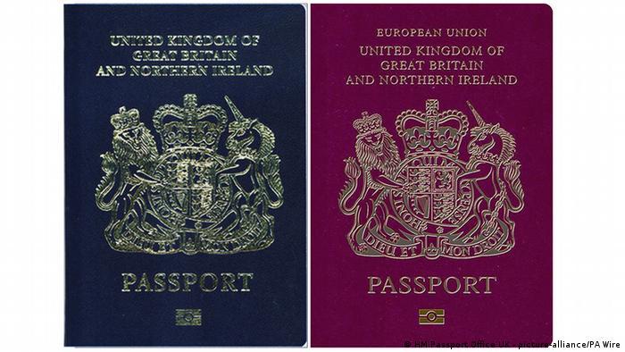 The new blue and old burgundy British passports