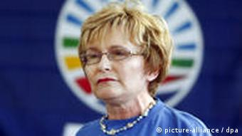 A close up of South African opposition party Democratic Alliance (DA) leader Helen Zille